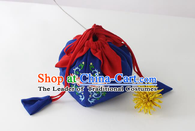 Traditional Ancient Chinese Embroidered Handbags Embroidered Lotus Navy Bag for Women