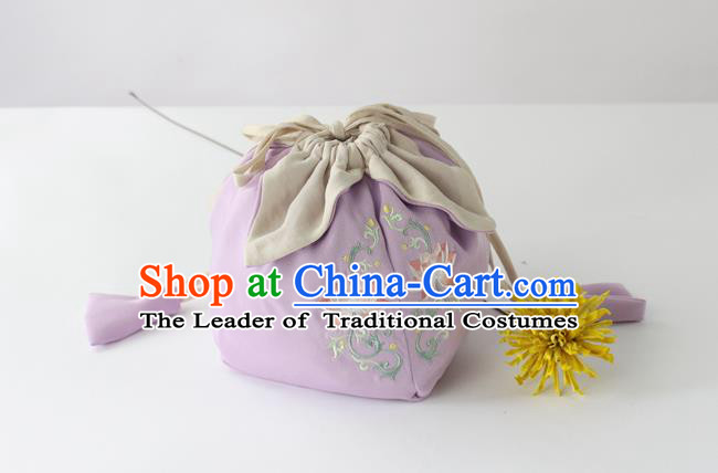Traditional Ancient Chinese Embroidered Handbags Embroidered Lotus Lilac Bag for Women