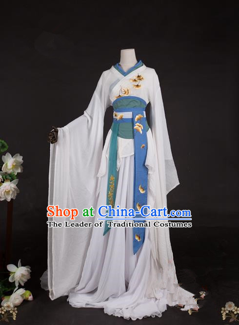 Traditional Asian Chinese Swordman Imperial Consort Costume, Elegant Hanfu Clothing Chinese Imperial Princess Tailing Embroidered Ginkgo Clothing, Chinese Fairy Princess Empress Queen Cosplay Costumes for Women