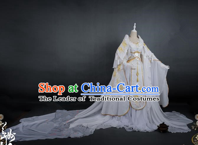 Traditional Asian Chinese Ancient Princess Costume, Elegant Hanfu Dance Wide Sleeves Clothing, Chinese Imperial Princess Tailing Embroidered Peacock Clothing, Chinese Fairy Princess Empress Queen Cosplay Costumes for Women