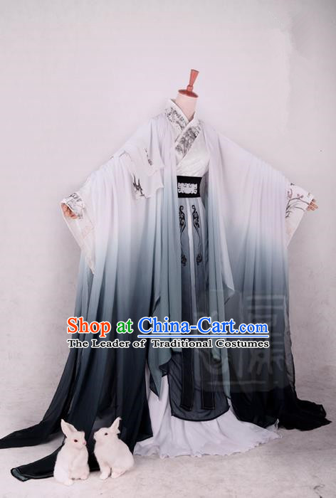 Traditional Asian Chinese Ancient Costume, Elegant Hanfu Dress, Chinese Imperial Prince Ink Painting Clothing, Chinese Cosplay Prince Costumes for Men