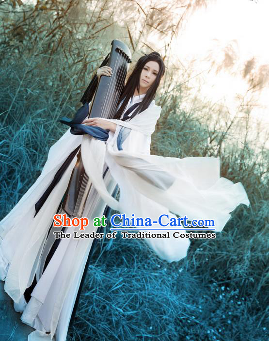 Traditional Asian Chinese Nobility Childe Costume, Elegant Hanfu Ink Painting Dress, Chinese Imperial Prince Cosplay Costumes for Men