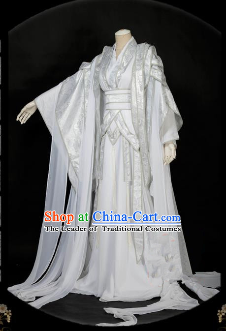 Traditional Asian Chinese Ancient Nobility Childe Costume, Elegant Hanfu White Dress, Chinese Imperial Prince Embroidered Clothing, Chinese Cosplay Prince Costumes for Men