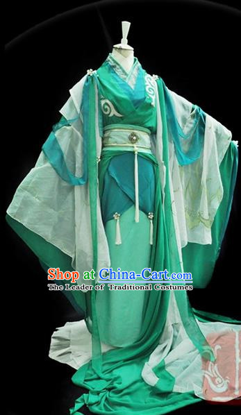 Traditional Asian Chinese Ancient Nobility Childe Costume, Elegant Hanfu Green Dress, Chinese Imperial Prince Embroidered Clothing, Chinese Cosplay Swordsman Costumes for Men