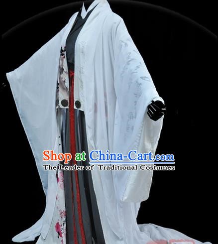Traditional Asian Chinese Ancient Nobility Childe Costume, Elegant Hanfu White Dress, Chinese Imperial Prince Tailing Ink Painting Plum Blossom Clothing, Chinese Cosplay Swordsman Costumes for Men