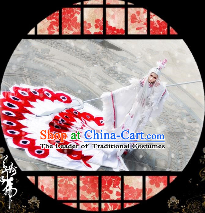 Traditional Asian Chinese Ancient Nobility Childe Costume, Elegant Hanfu Peacock Tail Dress, Chinese Imperial Prince Tailing Clothing, Chinese Cosplay Prince Costumes for Men