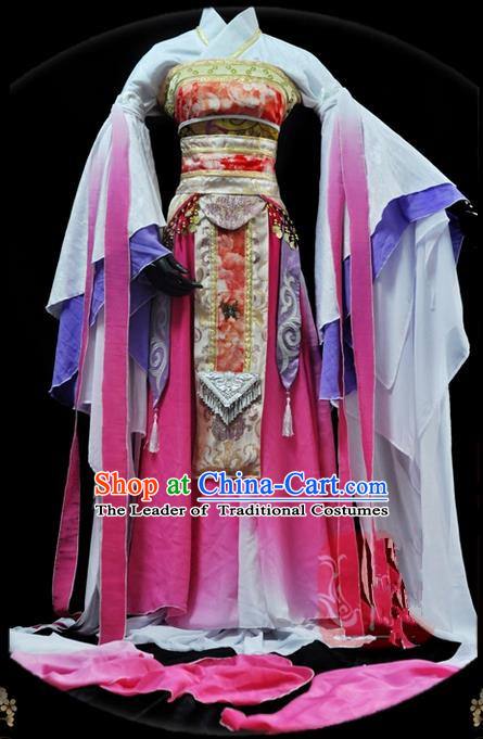 Traditional Asian Chinese Ancient Palace Princess Costume, Elegant Hanfu Water Sleeve Pink Dance Dress, Chinese Imperial Princess Tailing Embroidered Clothing, Chinese Cosplay Fairy Princess Empress Queen Cosplay Costumes for Women