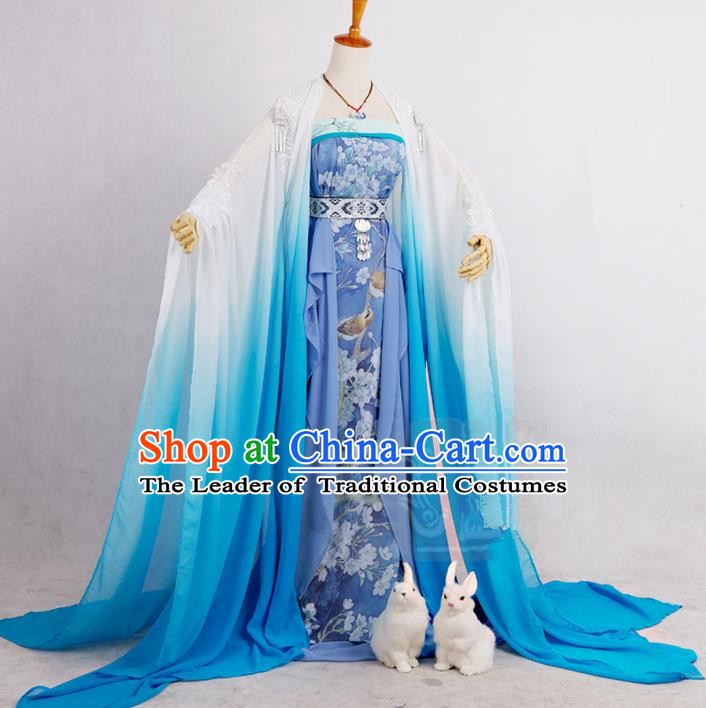 Traditional Ancient Chinese Imperial Consort Costume, Elegant Hanfu Cosplay Fairy Dress Chinese Tang Dynasty Imperial Empress Embroidered Flowers Tailing Clothing for Women