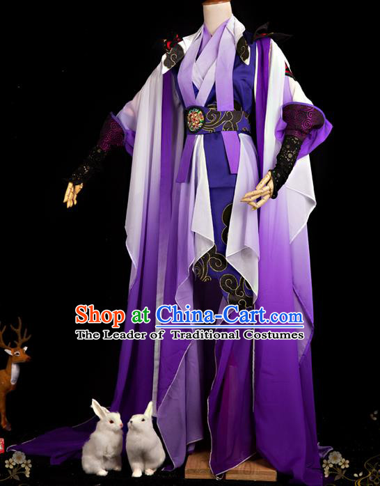 Traditional Ancient Chinese Swordsman Costume, Elegant Hanfu Cosplay Fairy Purple Dress Chinese Han Dynasty Imperial Empress Embroidered Tailing Clothing for Women