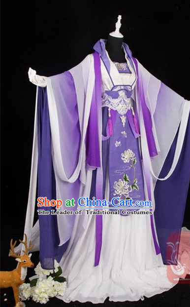 Traditional Ancient Chinese Palace Queen Costume, Elegant Hanfu Cosplay Fairy Wide Sleeve Violet Dress Chinese Tang Dynasty Imperial Empress Embroidery Cloud Tailing Clothing for Women