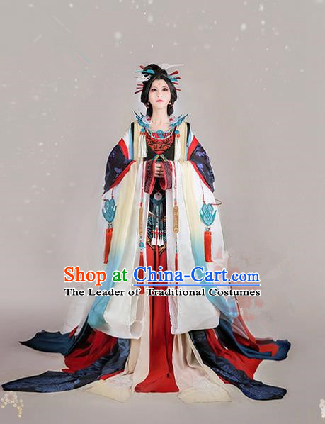 Traditional Ancient Chinese Imperial Consort Costume, Elegant Hanfu Cosplay Fairy Wide Sleeve Dress, Chinese Tang Dynasty Imperial Empress Embroidery Tailing Clothing for Women
