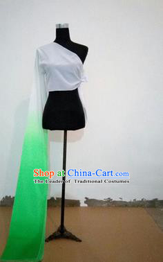Traditional Chinese Long Sleeve Single Water Sleeve Dance Suit China Folk Dance Koshibo Long Green and White Gradient Ribbon for Women