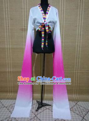 Traditional Chinese Long Sleeve Tibetan Nationality Water Sleeve Dance Suit China Folk Dance Koshibo Long White and Pink Gradient Ribbon for Women