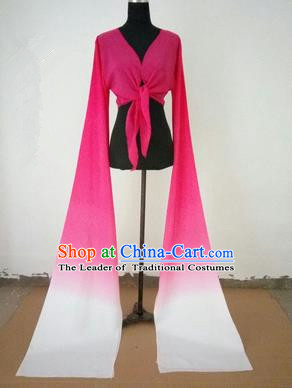 Traditional Chinese Long Sleeve Wide Water Sleeve Dance Suit China Folk Dance Koshibo Long White and Pink Gradient Ribbon for Women