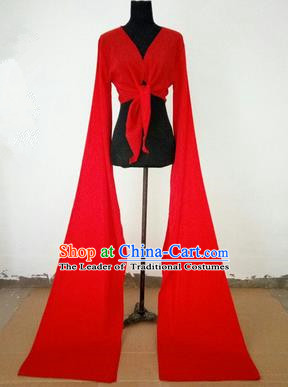 Traditional Chinese Long Sleeve Wide Water Sleeve Dance Suit China Folk Dance Koshibo Long Red Ribbon for Women