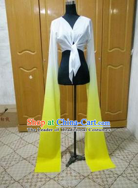 Traditional Chinese Long Sleeve Water Sleeve Dance Suit China Folk Dance Koshibo Long White and Yellow Gradient Ribbon for Women