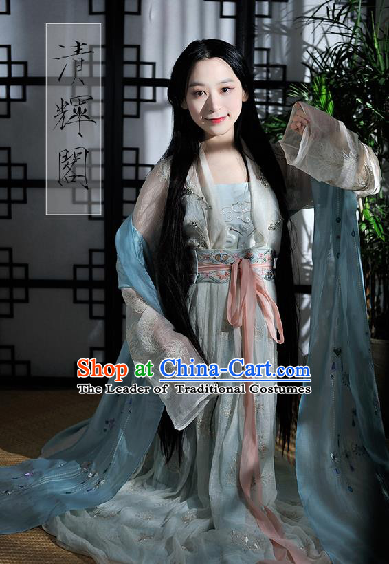 Traditional Ancient Chinese Female Costume Blouse and Dress Complete Set, Elegant Hanfu Clothing Chinese Song Dynasty Imperial Empress Embroidered Crane Clothing for Women