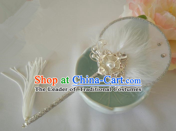 Traditional Chinese Handmade Ancient Hanfu White Little Feather Fan Props