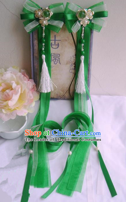 Traditional Handmade Chinese Ancient Classical Green Bowknot Hair Accessories, Hair Sticks Tassel Hair Jewellery, Hair Fascinators Hairpins for Women