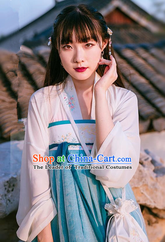 Traditional Ancient Chinese Female Costume Blue Blouse and Dress Complete Set, Elegant Hanfu Clothing Chinese Tang Dynasty Embroidered Palace Princess Clothing for Women