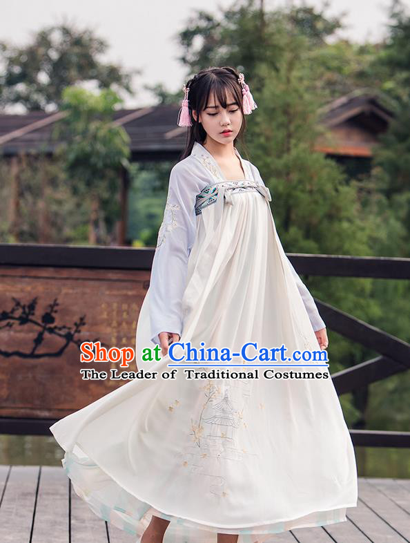 Traditional Ancient Chinese Female Costume Blouse and Dress Complete Set, Elegant Hanfu Clothing Chinese Tang Dynasty Embroidering Pavilions Palace Princess Clothing for Women