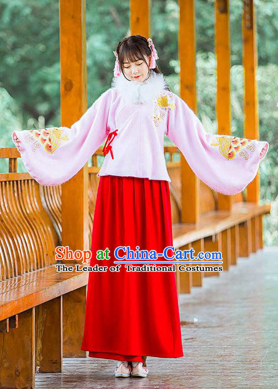 Traditional Ancient Chinese Female Costume Woolen Pink Blouse and Red Dress Complete Set, Elegant Hanfu Clothing Chinese Ming Dynasty Palace Princess Embroidered Carp Clothing for Women