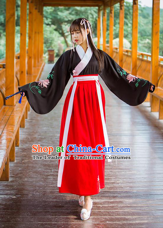 Traditional Ancient Chinese Female Costume Black Blouse and Red Dress Complete Set, Elegant Hanfu Clothing Chinese Ming Dynasty Palace Princess Embroidered Clothing for Women