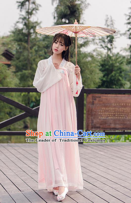 Traditional Ancient Chinese Female Costume Blouse and Dress Complete Set, Elegant Hanfu Clothing Chinese Tang Dynasty Embroidered Palace Princess Clothing for Women