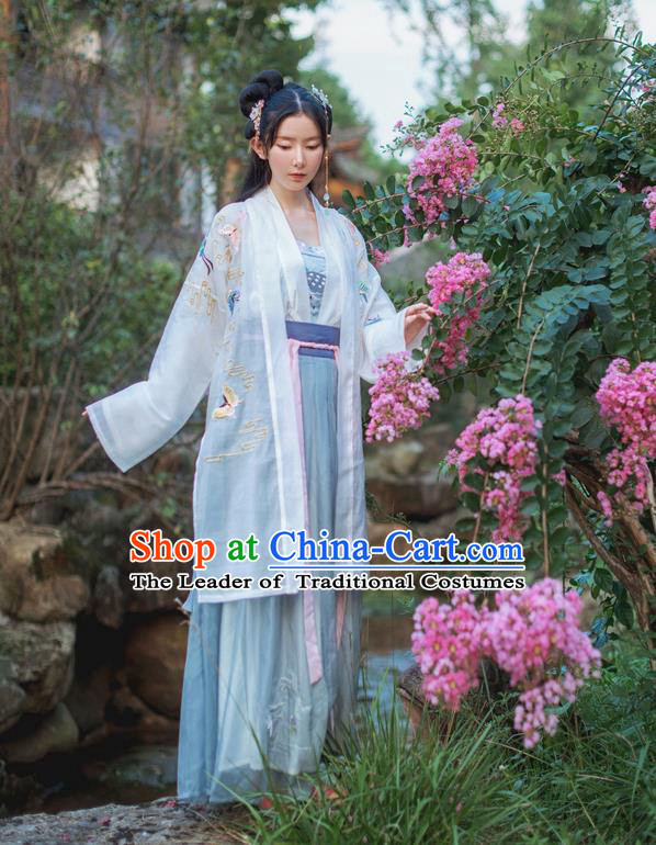 Traditional Ancient Chinese Female Costume Cardigan Blouse and Dress Complete Set, Elegant Hanfu Clothing Chinese Tang Dynasty Embroidered Colorful Butterfly Palace Princess Clothing for Women