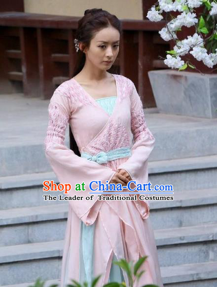 Traditional Ancient Chinese Imperial Princess Costume, Elegant Hanfu Cosplay Fairy Dress Chinese Han Dynasty Imperial Princess Tailing Embroidered Clothing for Women