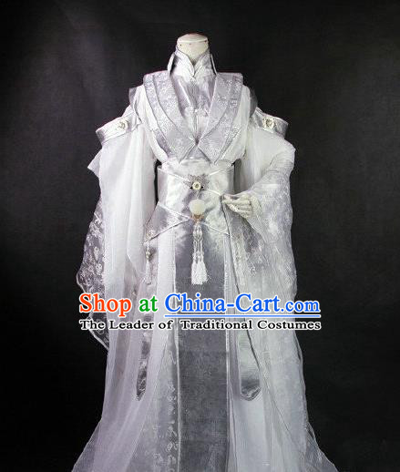 Traditional Ancient Chinese Imperial Emperor White Costume, Ancient Swordsman Elegant Hanfu Clothing Chinese Tang Dynasty Imperial King Cosplay Tailing Embroidered Dress for Men