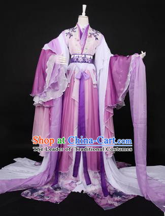 Traditional Ancient Chinese Imperial Consort Costume, Elegant Hanfu Clothing Chinese Tang Dynasty Imperial Empress Cosplay Fairy Tailing Embroidered Lilac Dress for Women
