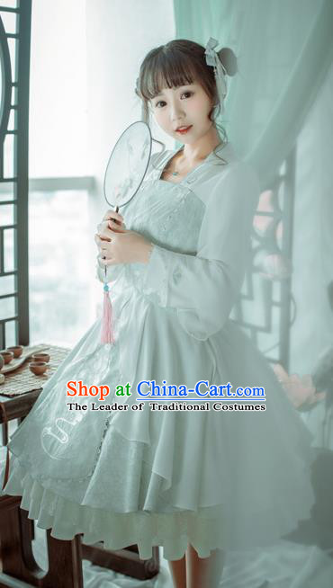 Traditional Ancient Chinese Imperial Consort Improved Costume, Elegant Hanfu Clothing Chinese Tang Dynasty Imperial Empress Cosplay Fairy Embroidered White Dress for Women