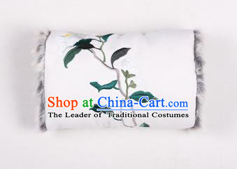 Traditional Ancient Chinese Embroidered Hanfu Muff Embroidered Camellia White Handwarmers for Women