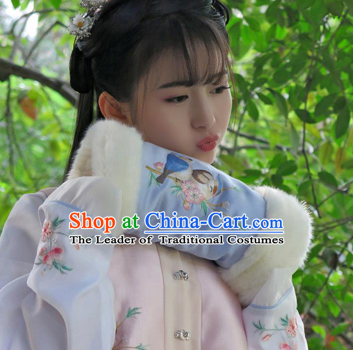 Traditional Ancient Chinese Embroidered Hanfu Muff Embroidered Bird Blue Handwarmers for Women