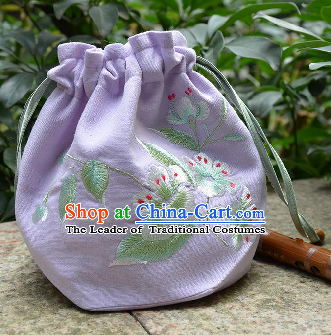 Traditional Ancient Chinese Embroidered Hanfu Handbags Double Size Embroidered Lilac Bag for Women