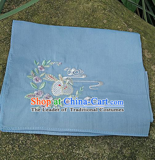 Traditional Ancient Chinese Embroidered Hanfu Handkerchief Embroidered Rabbit Blue Silk Mocket for Women