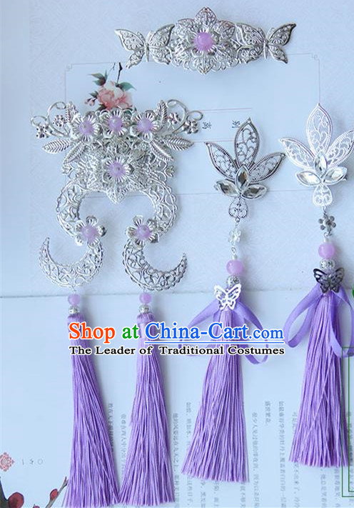 Traditional Handmade Chinese Ancient Princess Classical Hair Accessories Jewellery Complete Set, Hair Crown Tassel Hair Claws, Hair Fascinators Hairpins for Women