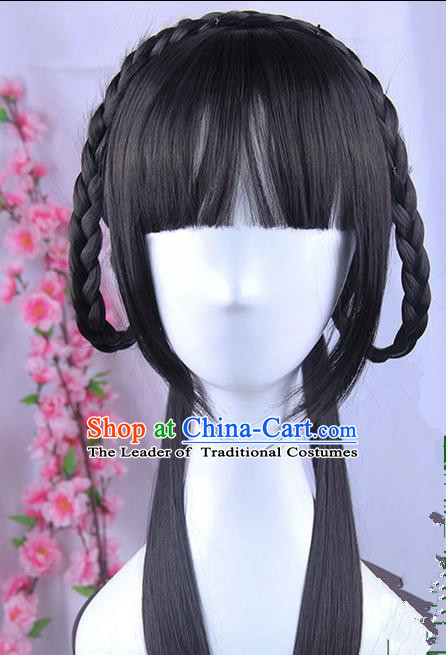 Traditional Handmade Ancient Chinese Han Dynasty Princess Wig Complete Set, Ancient Chinese Palace Young Lady Wig for Women