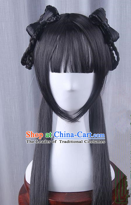 Traditional Handmade Ancient Chinese Han Dynasty Imperial Princess Wig Complete Set, Ancient Chinese Young Lady Wig for Women
