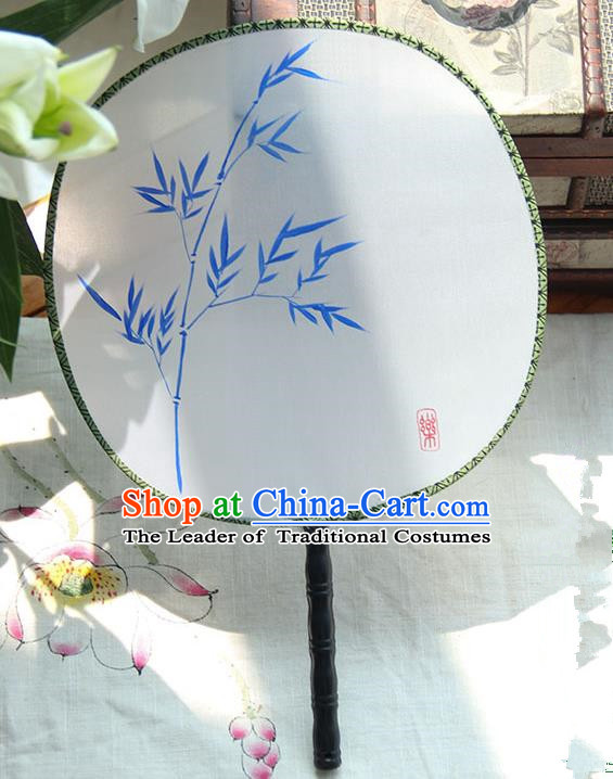 Traditional Handmade Ancient Chinese Tang Dynasty Imperial Princess Painting Bamboo Palace Lady Round Hanfu Silk Fan for Women