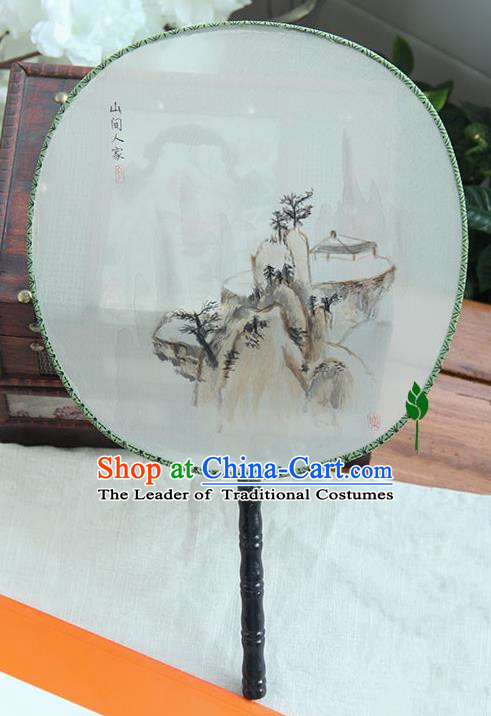 Traditional Handmade Ancient Chinese Tang Dynasty Imperial Princess Painting Landscape Palace Lady Round Hanfu Silk Fan for Women