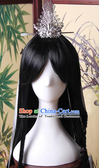 Traditional Handmade Ancient Chinese Tang Dynasty Imperial Prince Hair Decoration and Wig Complete Set, Ancient Chinese Swordsman Headwear and Wig for Men