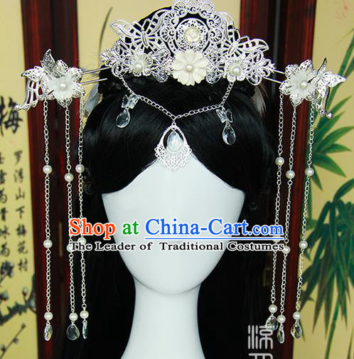 Traditional Handmade Ancient Chinese Tang Dynasty Imperial Empress Hair Decoration and Wig Complete Set, Ancient Chinese Cosplay Fairy Queen Headwear and Wig for Women