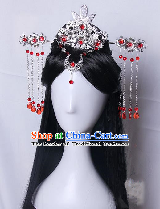 Traditional Handmade Ancient Chinese Tang Dynasty Imperial Princess Wedding Hair Decoration and Wig Complete Set, Ancient Chinese Cosplay Fairy Queen Bride Headwear and Wig for Women