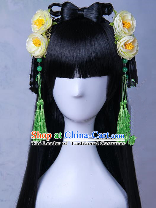 Traditional Handmade Ancient Chinese Han Dynasty Imperial Princess Tassels Hair Decoration and Wig Complete Set, Ancient Chinese Hanfu Cosplay Fairy Young Lady Headwear and Wig for Women