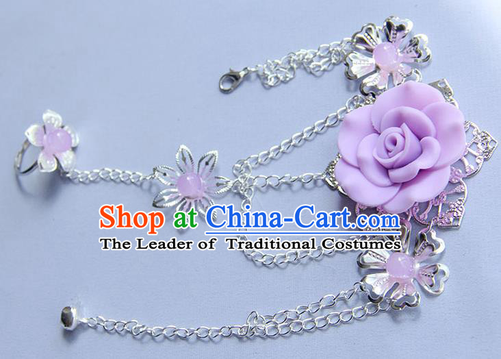 Traditional Handmade Chinese Ancient Princess Classical Hanfu Accessories Jewellery Lavender Flower Bracelet and Ring Chain for Women