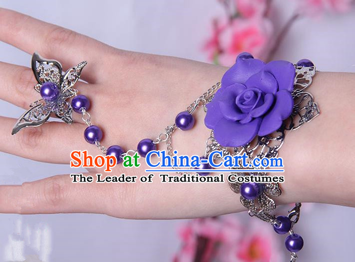 Traditional Handmade Chinese Ancient Princess Classical Hanfu Accessories Jewellery Purple Flower Butterfly Bracelet and Ring Chain for Women