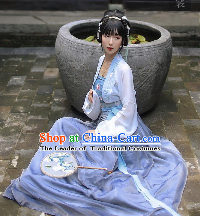 Traditional Ancient Chinese Female Costume Embroidered Two Pieces Blouse and Dress Complete Set, Elegant Hanfu Clothing Chinese Tang Dynasty Embroidered Peony Palace Princess Dress for Women
