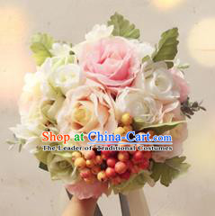 Top Grade Classical Wedding Silk Flowers, Bride Holding Emulational Champagne Fruit Flowers, Hand Tied Bouquet Flowers for Women